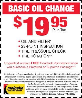 Meineke Basic $19.95 oil change coupon