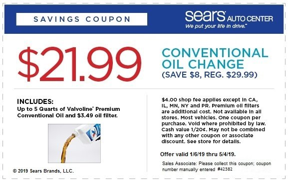 Cheap oil change coupon from Sears before they go out of business - Conventional oil